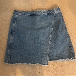 Asymmetrical denim wrap skirt